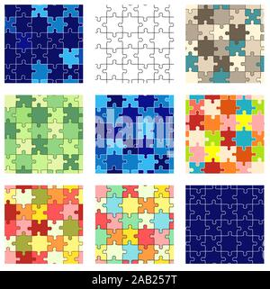 Set of seamless puzzle patterns of different colors. Endless texture can be used for wallpaper, pattern fills, web page background, surface textures. - Stock Photo