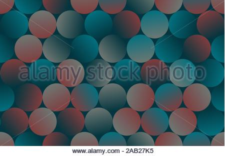 circular tiles seamless pattern in retro navy red shades - Stock Photo