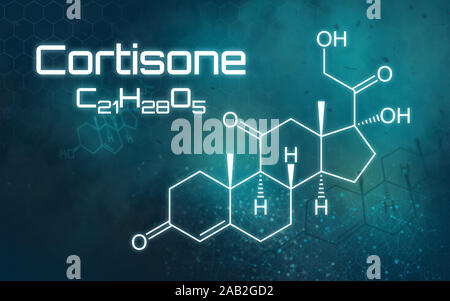 Chemical formula of Cortisone on a futuristic background - Stock Photo