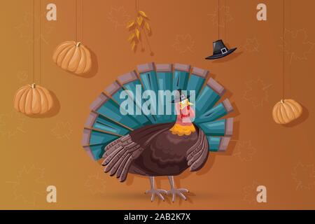 Thanksgiving day turkey with turquoise feathers. Pumpkins, hat and autumn leaves hanging from ceiling. Warm yellow background. Holiday vector