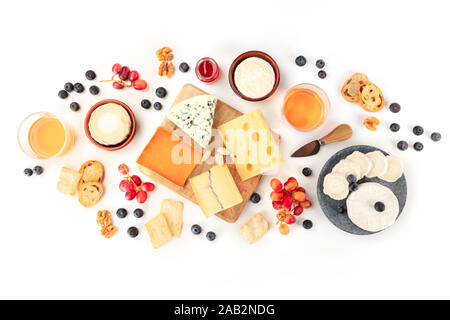 Cheese and wine, tasting and pairing, an overhead flat lay shot on a white background - Stock Photo