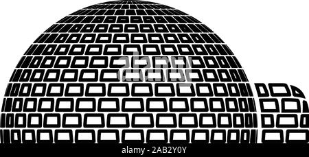 Igloo dwelling with icy cubes blocks Place when live inuits and eskimos Arctic home Dome shape icon outline black color vector illustration flat - Stock Photo