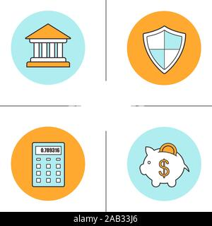 Banking and finance icons color icons set. Bank building, protection shield, calculator, piggy bank with coin. Courthouse. Vector isolated illustratio - Stock Photo