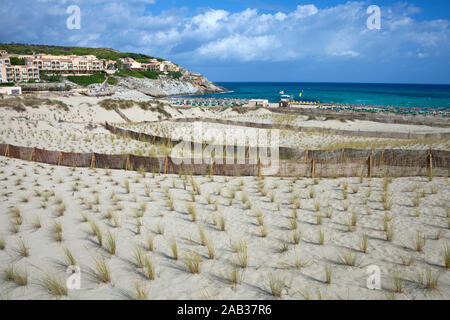 Protected area with dune grass, sourrounded by fence, conservation area at Cala Mesquida, Cala Ratjada, Mallorca, Balearic islands, Spain - Stock Photo