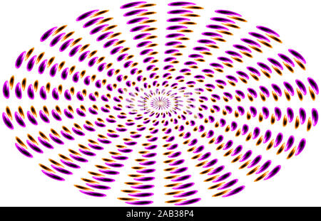 Abstract background, oval shapes in purple and brown on a white background ranging from the center - Stock Photo
