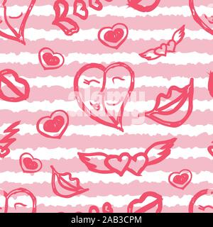 Seamless pattern with stripes and hand drawing sketches for Valentine's Day, can be printed on textile, wallpaper, wrapping paper, greeting cards, used in logo, banner, landing page. Vector Illustration. EPS10 - Stock Photo