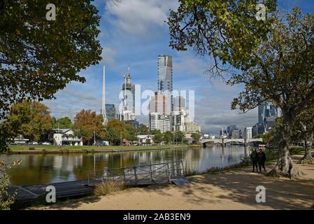 Australia, Victoria, Melbourne, April 11, 2019 -  Eureka Tower and skyline along Yarra River    Photo Fabio Mazzarella/Sintesi/Alamy Stock Photo - Stock Photo