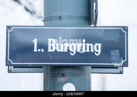 Street sign of Vienna, Austria, indicating the Burgring. It is part of the Ringstrasse, a system of ring roads and streets circling the historical cit - Stock Photo