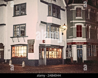 Photo illustration: Island House on The Barbican Plymouth in 1970's given an illustrative filter. Mayflower 400 focus, Elizabethan building - Stock Photo