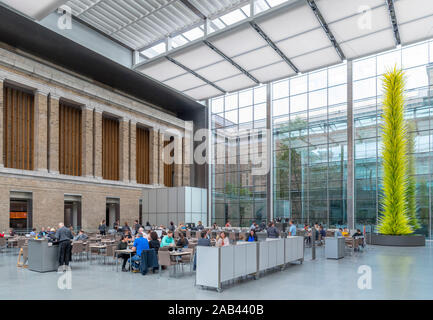 Cafe in the Courtyard of the Museum of Fine Arts, Boston, Massachusetts, USA - Stock Photo
