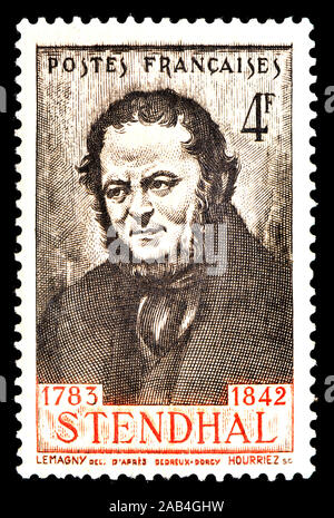 French postage stamp (1942) : Stendhal (Marie-Henri Beyle: 1783-1842) 19th-century French writer - Stock Photo