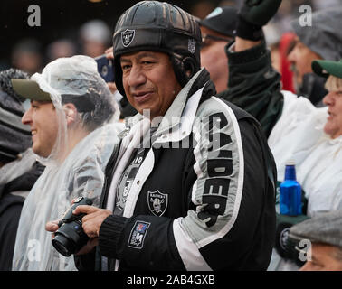 East Rutherford, New Jersey, USA. 24th Nov, 2019. An Oakland Raiders fan during a NFL game between the Oakland Raiders and the New York Jets at MetLife Stadium in East Rutherford, New Jersey. Duncan Williams/CSM/Alamy Live News Stock Photo