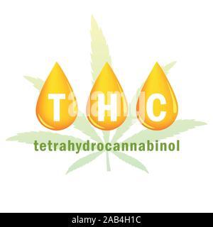 thc oil tetrahydrocannabinol drop and cannabis leaf vector illustration EPS10 - Stock Photo