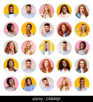 Collage of diverse multiethnic young people smiling over colorful backgrounds - Stock Photo
