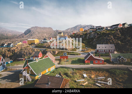 Colourful little Arctic town Sisimiut in Greenland,Qeqqata Municipality, aka Holsteinsborg . Second largest city in Greenland. Overview of port area - Stock Photo