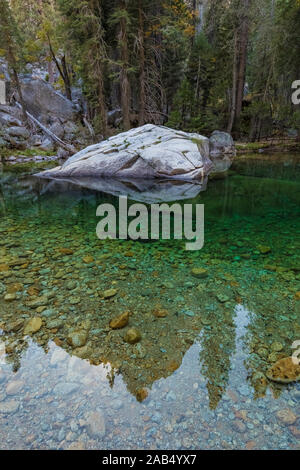 The green waters of the Kings River in the Cedar Grove area in Kings Canyon National Park, California, USA - Stock Photo
