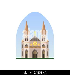 Christian cathedral vector. Christian temple. Catholic Church. Building - Stock Photo