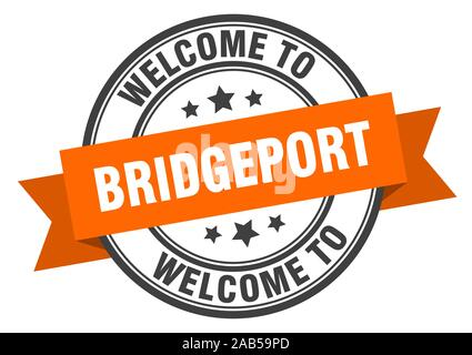 Bridgeport stamp. welcome to Bridgeport orange sign - Stock Photo