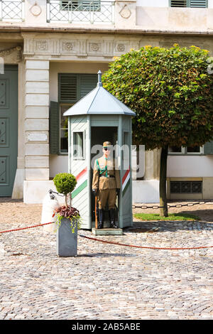 BUDAPEST, HUNGARY 29 JULY 2019: Armed guard of honor at the Royal Sandor Palace, President of Hungary residence on Buda Hill. Hungarian National symbo - Stock Photo