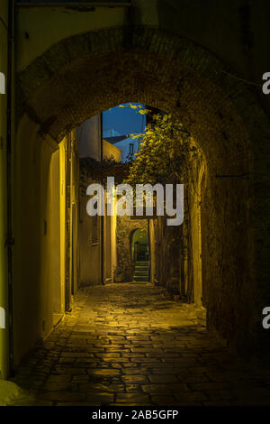 Medieval alley Of Termoli by Night, Molise Italy - Stock Photo