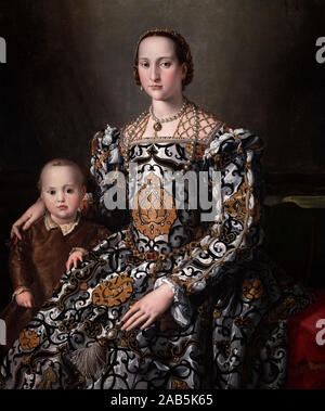 Eleonora of Toledo and Her Son by workshop of Agnolo Bronzino (1503-1572), oil on panel, 1545-50. - Stock Photo
