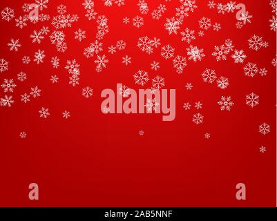 Snowflakes falling from the sky. Abstract background for holiday. Merry Christmas and Happy New Year pattern. Vector illustration on red background - Stock Photo