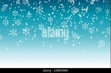 Snowflakes falling from the sky. Abstract background for holiday. Merry Christmas and Happy New Year pattern. Vector illustration on blue background - Stock Photo