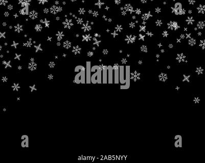 Snowflakes falling from the sky. Abstract background for holiday. Merry Christmas and Happy New Year pattern. Vector illustration on black background - Stock Photo