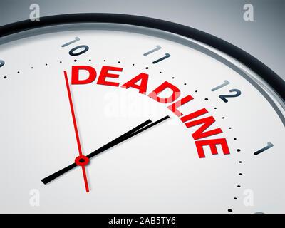 Ein simples Ziffernblatt mit der Aufschrift: 'Deadline' - Stock Photo