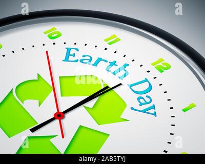 Ein simples Ziffernblatt mit der Aufschrift: 'Earth Day' - Stock Photo