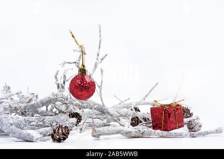 Christmas decoration on white background. Small decorative elements. - Stock Photo