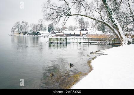 Das schoene Tutzing am Starnberger See im Winter - Stock Photo