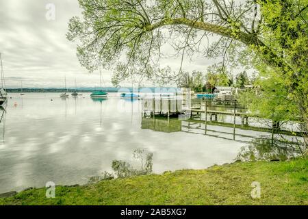 Das schoene Tutzing am Starnberger See in Bayern, Deutschland - Stock Photo