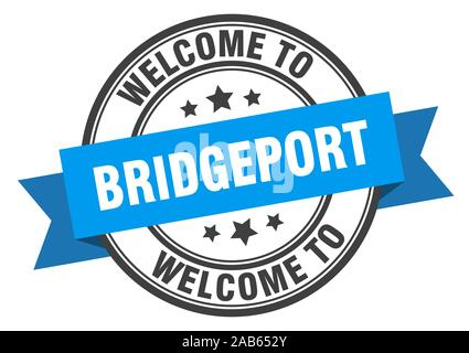 Bridgeport stamp. welcome to Bridgeport blue sign - Stock Photo