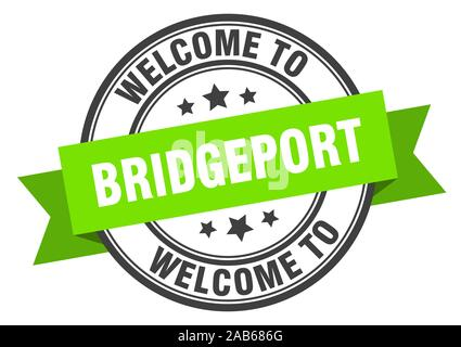 Bridgeport stamp. welcome to Bridgeport green sign - Stock Photo