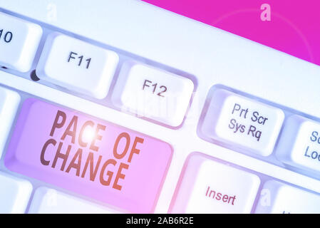Writing note showing Pace Of Change. Business concept for Shift in normal routine Variation in usual activities - Stock Photo