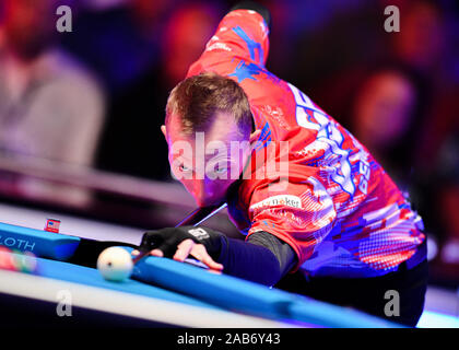 LAS VEGAS, USA. 26th Nov, 2019. Justin Bergman during Day 1 Session of MOSCONI CUP XXVI at Mandalay Bay on Tuesday, November 26, 2019 in LAS VEGAS, USA. Credit: Taka G Wu/Alamy Live News - Stock Photo