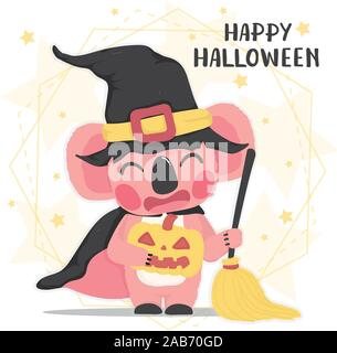 cute animal happy pink koala in halloween witch costume with broom, Happy Halloween, flat vector cartoon animal - Stock Photo