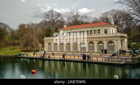 BROOKLYN, NY - APRIL 1, 2018 - Prospect Park Boathouse, Built in 1905 in the Beaux Arts Style, from the Lullwater Bridge in Late Winter, April 1, 2019 - Stock Photo