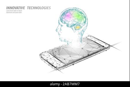Virtual assistant voice recognition service technology. AI artificial intelligence robot support. Chatbot brain on smartphone system low poly vector - Stock Photo