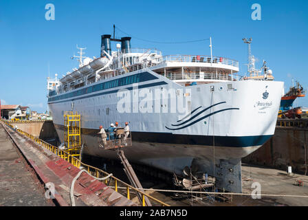 Willemstad, Curacao - October 24, 2016: Cruise ship Freewinds in the Curacao Drydock - Stock Photo