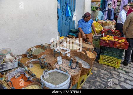 Sousse, Tunisia -  7 November 2019: Bags of healthy legumes and grains at the market of Sousse on Tunisia - Stock Photo