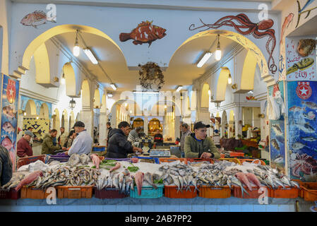 Sousse, Tunisia -  7 November 2019: people selling fish at the market on the medina of Sousse in Tunisia - Stock Photo