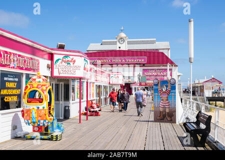 Britannia Pier and seaside theatre with shows, bars, arcades and rides, Great Yarmouth, Norfolk, England, United Kingdom, Europe - Stock Photo