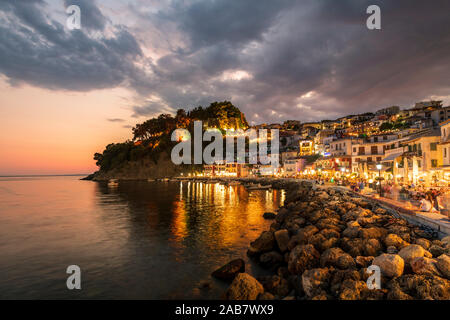 Evening view of Parga Castle and resort, Preveza, Greece, Europe - Stock Photo