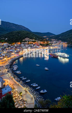 Elevated view of Parga town at night, Parga, Preveza, Greece, Europe - Stock Photo