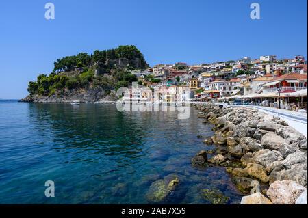 Parga castle and waterfront, Parga, Preveza, Greece, Europe - Stock Photo