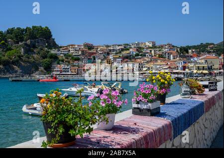 The colourful town of Parga, Parga, Preveza, Greece, Europe - Stock Photo