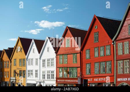 Colourfully painted timber buildings in Bryggen, the old harbour in Bergen, UNESCO World Heritage Site, Bergen, Vestlandet, Norway, Scandinavia