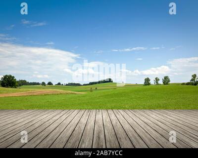 Sicht von einem Bootssteg aus auf eine wunderschoene bayerische Landschaft - Stock Photo